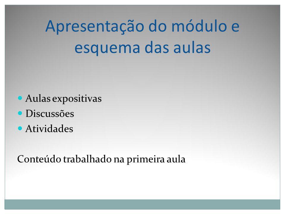 Apresentação do módulo e esquema das aulas