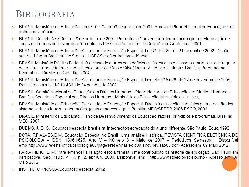 Bibliografia BRASIL. Ministério da Educação. Lei nº 10.172, de09 de janeiro de 2001. Aprova o Plano Nacional de Educação e dá outras providências.