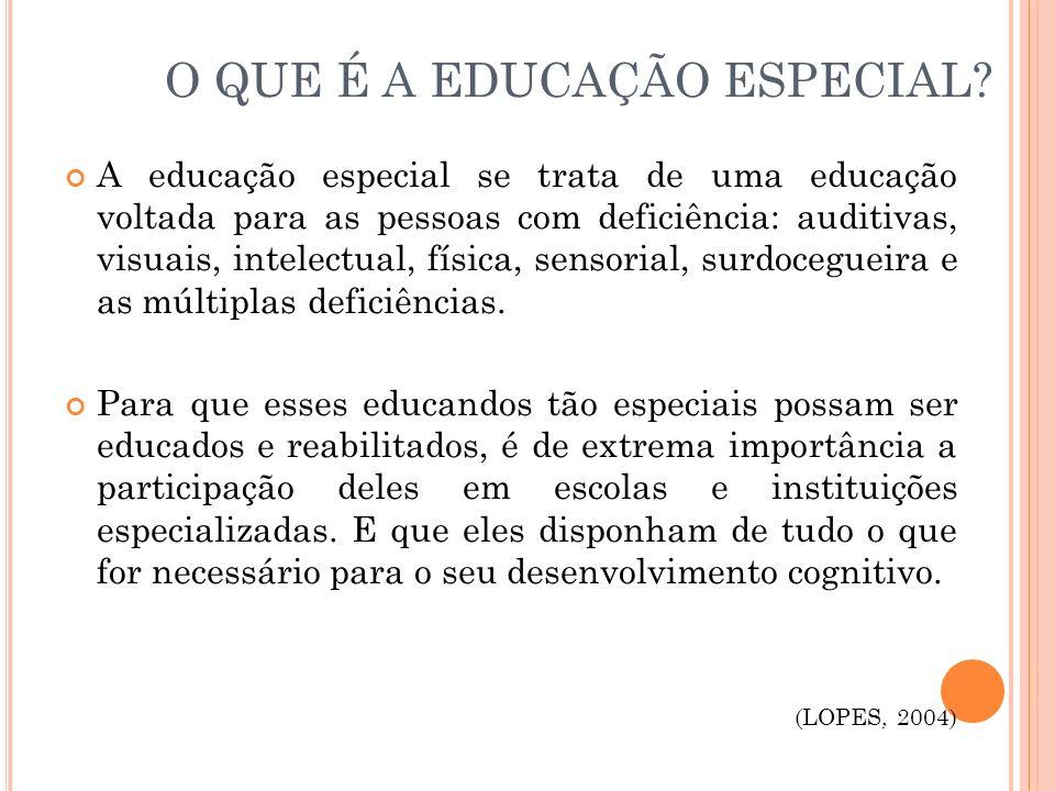 O QUE É A EDUCAÇÃO ESPECIAL