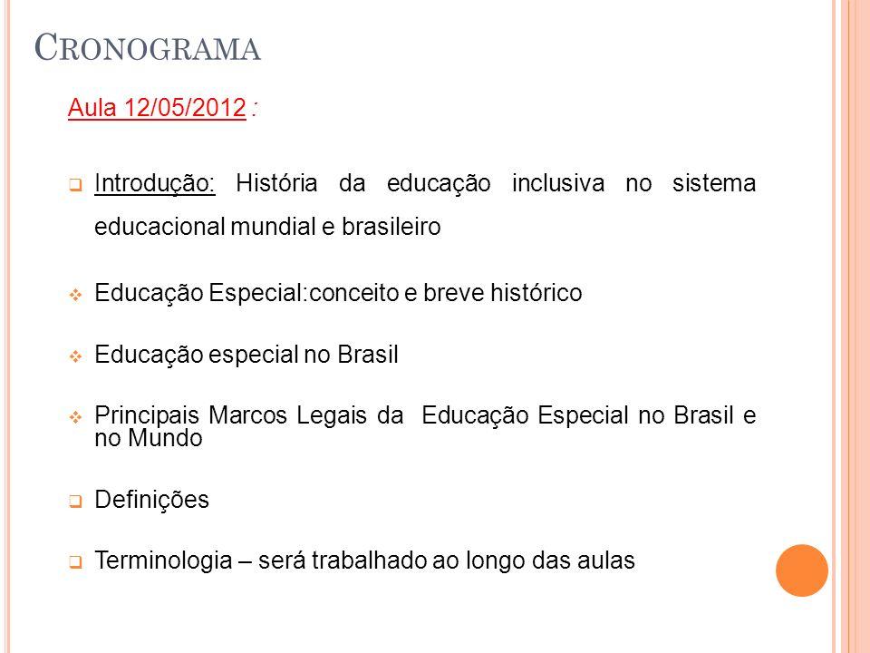 Cronograma Aula 12/05/2012 : Introdução: História da educação inclusiva no sistema educacional mundial e brasileiro.