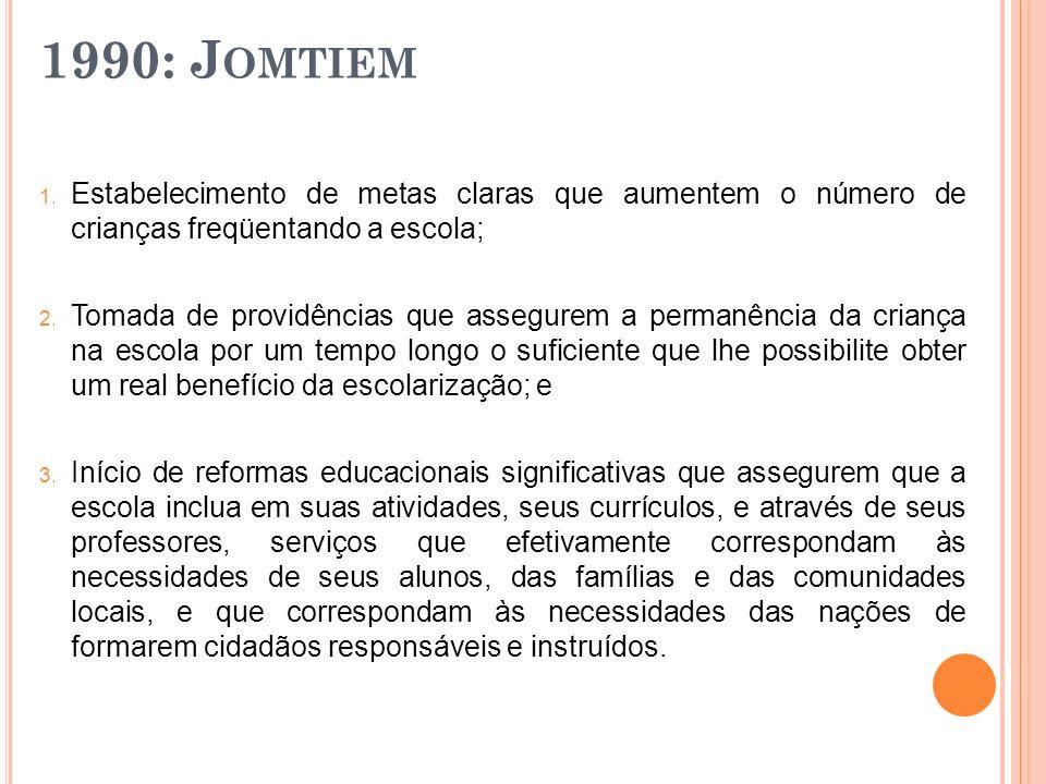 1990: Jomtiem Estabelecimento de metas claras que aumentem o número de crianças freqüentando a escola;