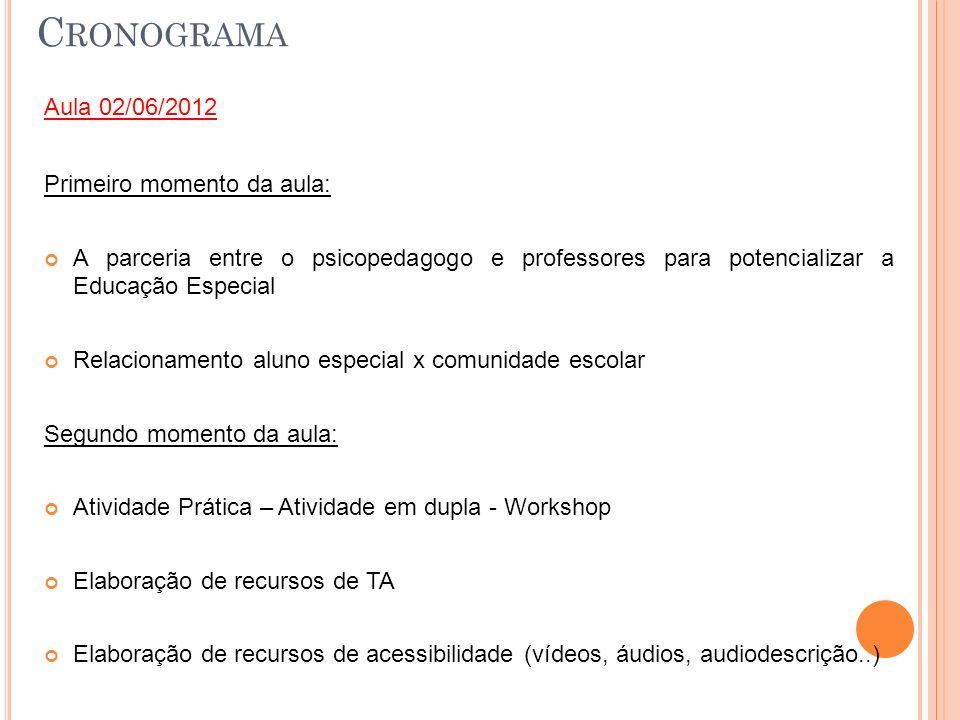 Cronograma Aula 02/06/2012 Primeiro momento da aula: