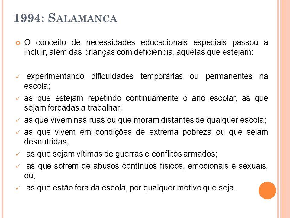 1994: Salamanca O conceito de necessidades educacionais especiais passou a incluir, além das crianças com deficiência, aquelas que estejam: