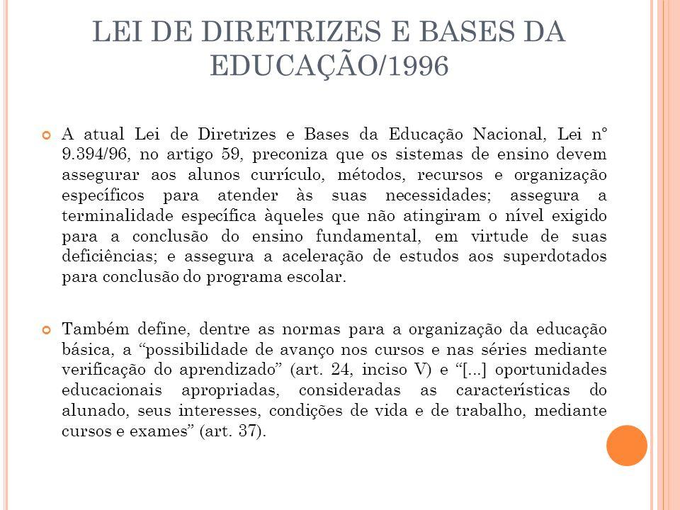 LEI DE DIRETRIZES E BASES DA EDUCAÇÃO/1996