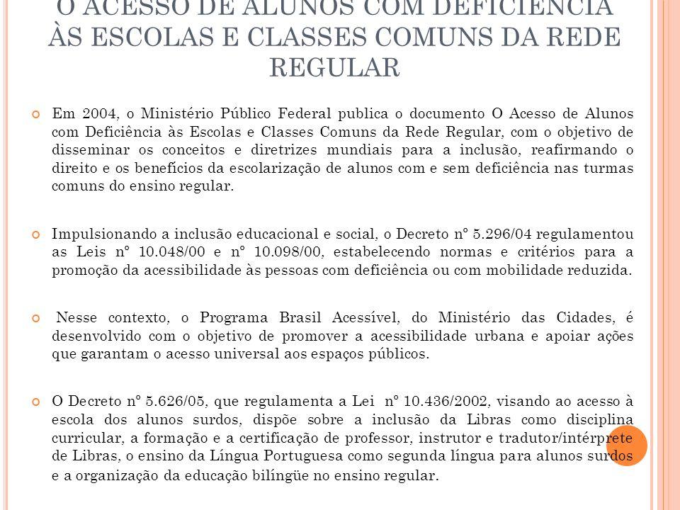 O ACESSO DE ALUNOS COM DEFICIÊNCIA ÀS ESCOLAS E CLASSES COMUNS DA REDE REGULAR
