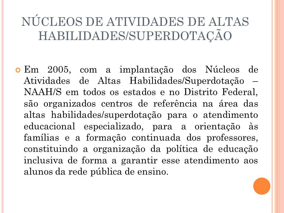 NÚCLEOS DE ATIVIDADES DE ALTAS HABILIDADES/SUPERDOTAÇÃO