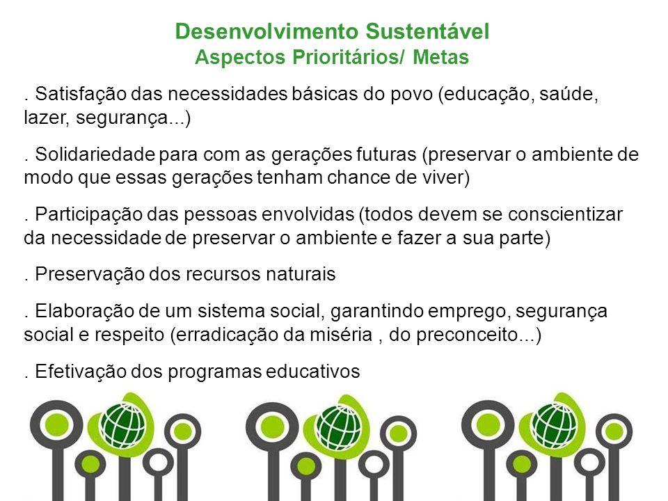Desenvolvimento Sustentável Aspectos Prioritários/ Metas