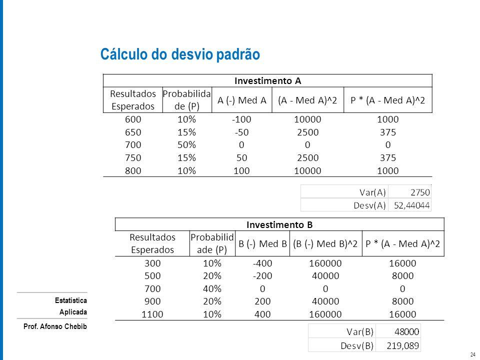 Cálculo do desvio padrão
