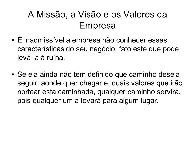 A Missão, a Visão e os Valores da Empresa