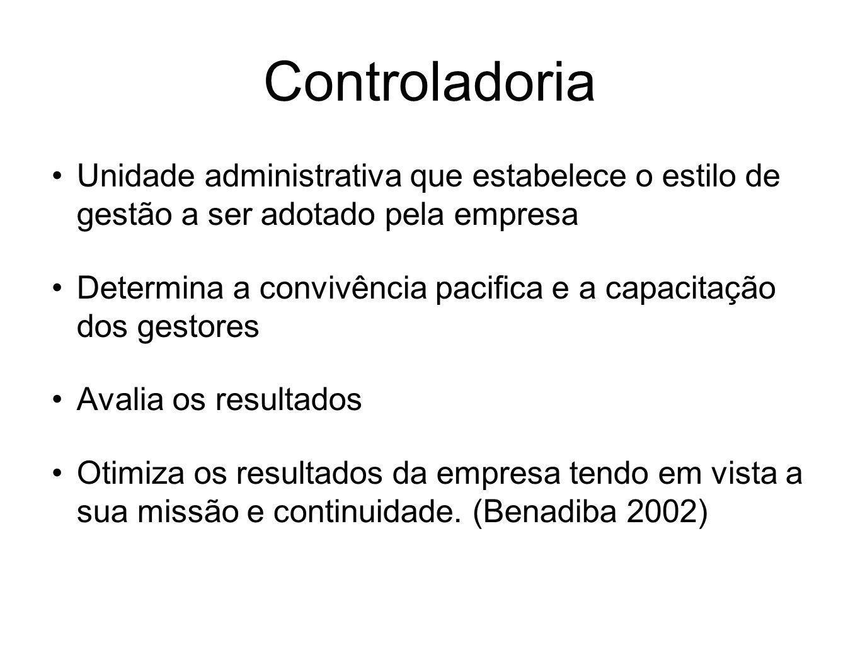 Controladoria Unidade administrativa que estabelece o estilo de gestão a ser adotado pela empresa.