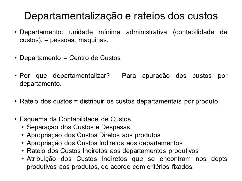 Departamentalização e rateios dos custos