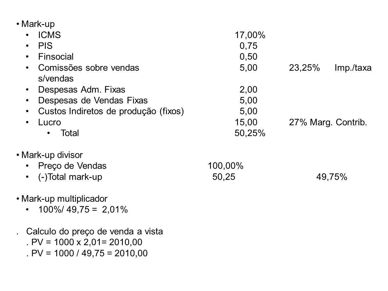 Mark-up ICMS 17,00% PIS 0,75. Finsocial 0,50. Comissões sobre vendas 5,00 23,25% Imp./taxa s/vendas.