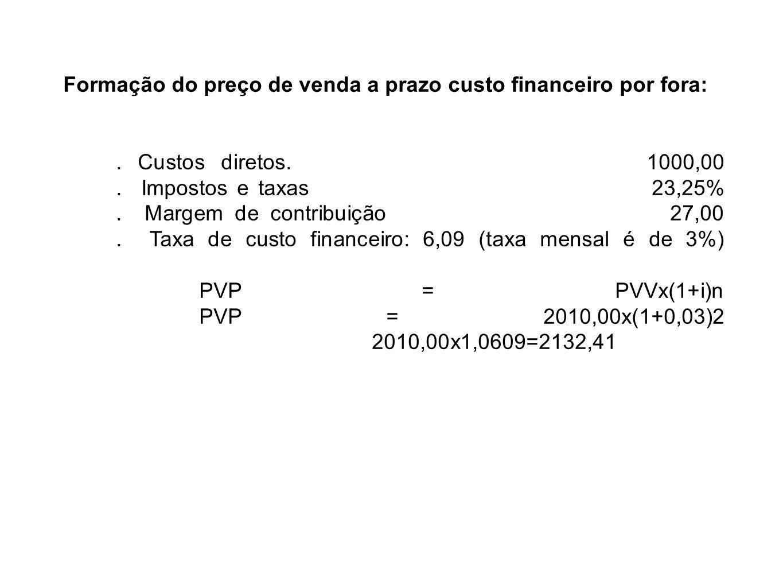 Formação do preço de venda a prazo custo financeiro por fora: