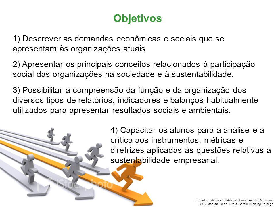 Objetivos 1) Descrever as demandas econômicas e sociais que se apresentam às organizações atuais.