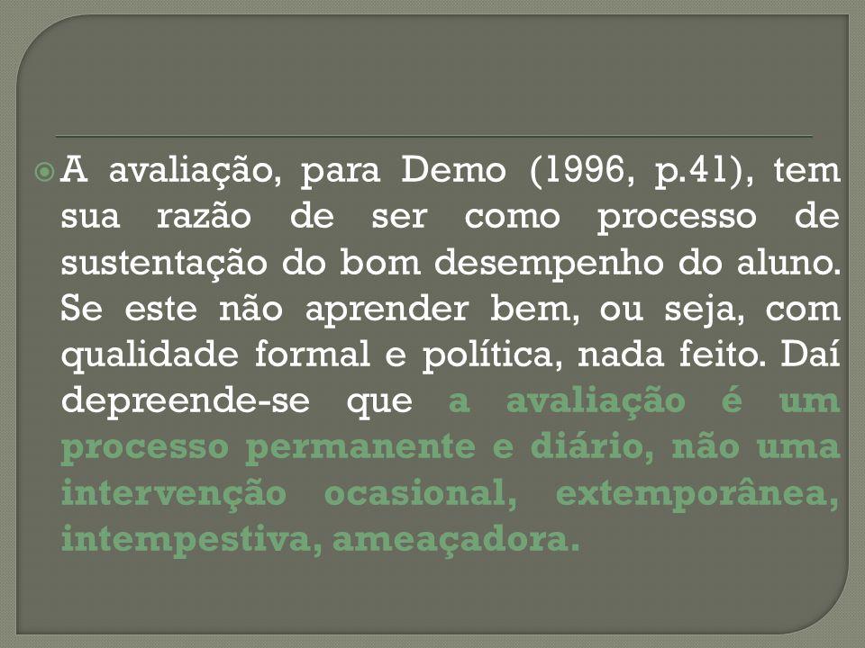 A avaliação, para Demo (1996, p