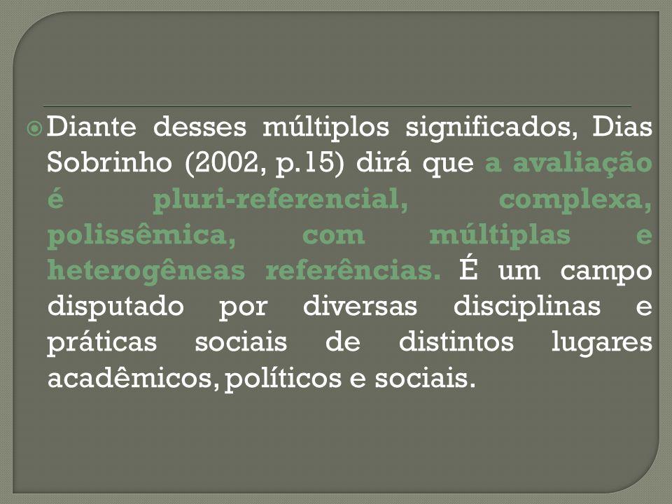 Diante desses múltiplos significados, Dias Sobrinho (2002, p