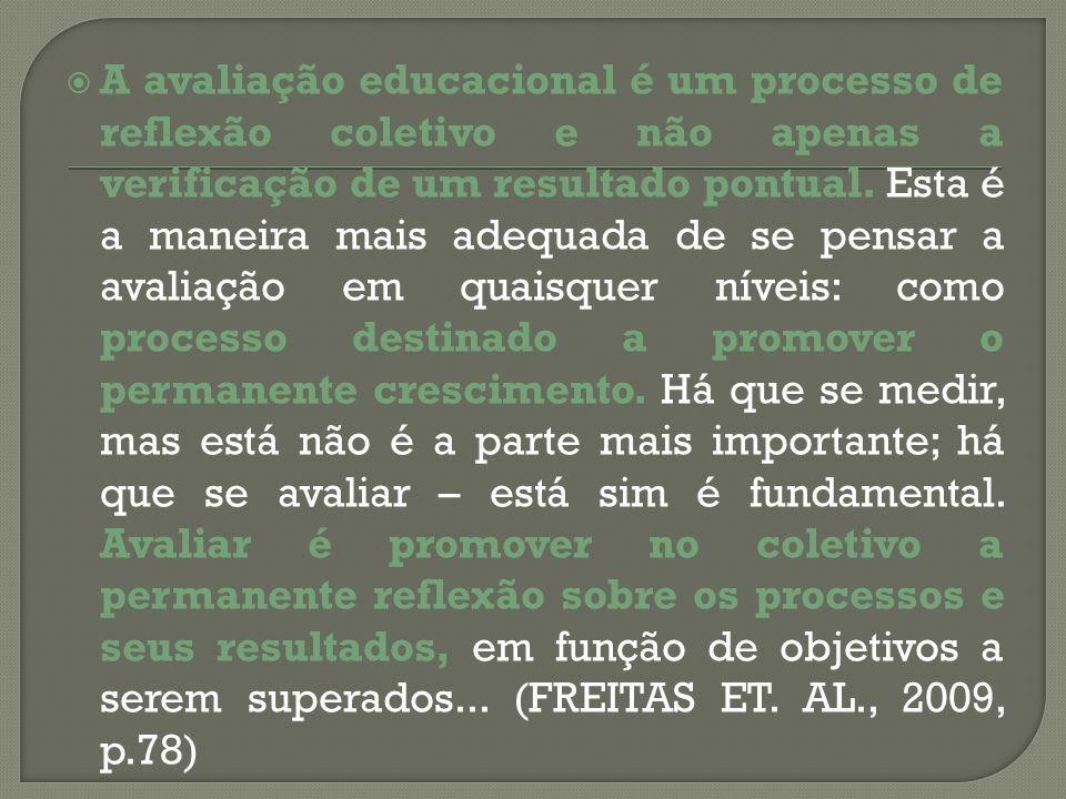 A avaliação educacional é um processo de reflexão coletivo e não apenas a verificação de um resultado pontual.