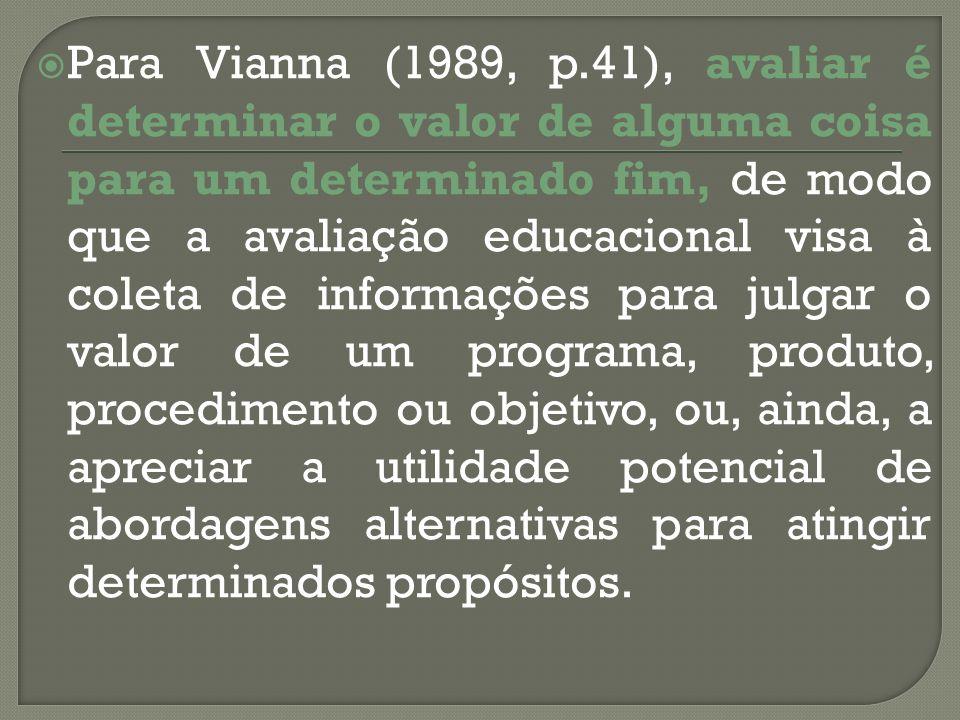 Para Vianna (1989, p.41), avaliar é determinar o valor de alguma coisa para um determinado fim, de modo que a avaliação educacional visa à coleta de informações para julgar o valor de um programa, produto, procedimento ou objetivo, ou, ainda, a apreciar a utilidade potencial de abordagens alternativas para atingir determinados propósitos.