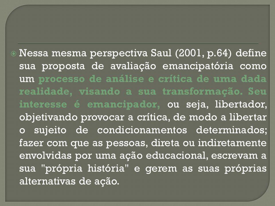 Nessa mesma perspectiva Saul (2001, p