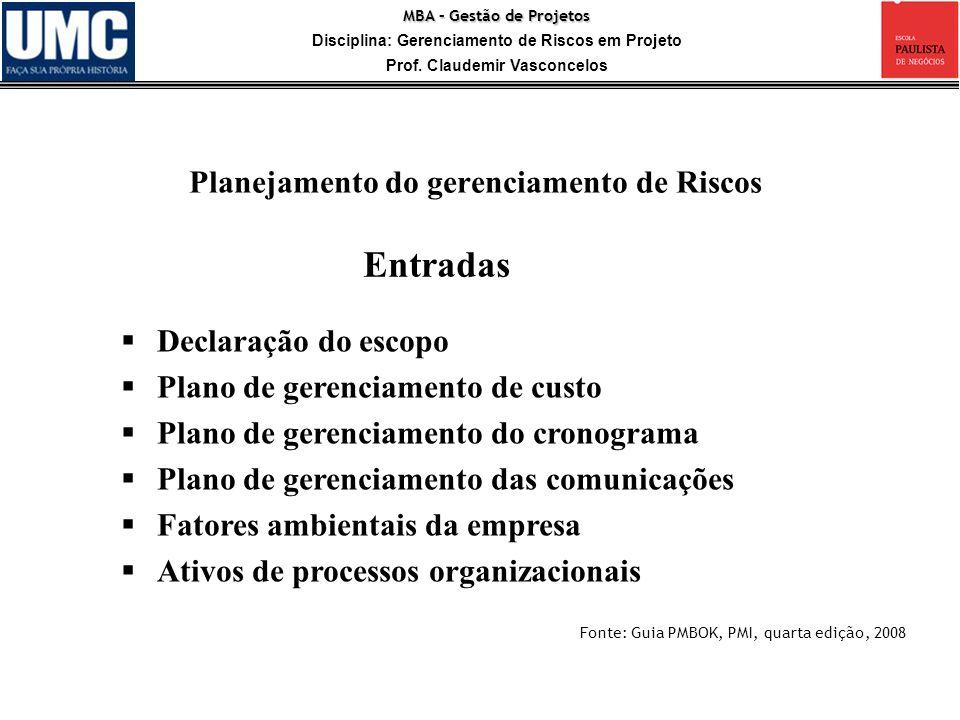 Entradas Planejamento do gerenciamento de Riscos Declaração do escopo