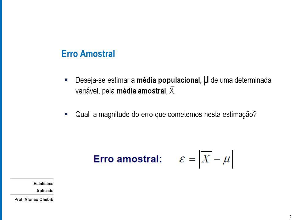 Erro Amostral Deseja-se estimar a média populacional, μ de uma determinada variável, pela média amostral, X.