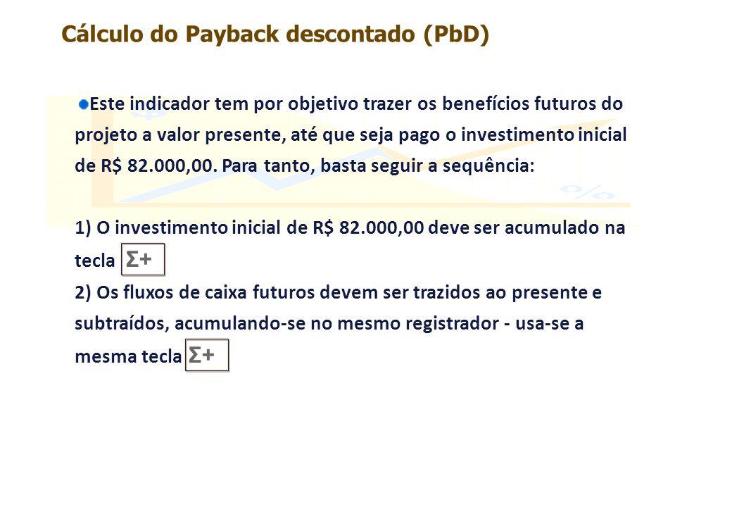 Cálculo do Payback descontado (PbD)
