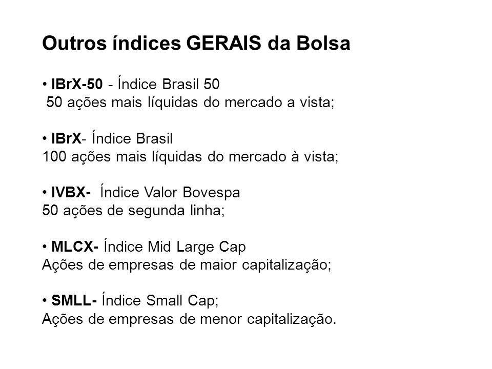 Outros índices GERAIS da Bolsa • IBrX-50 - Índice Brasil 50 50 ações mais líquidas do mercado a vista; • IBrX- Índice Brasil 100 ações mais líquidas do mercado à vista; • IVBX- Índice Valor Bovespa 50 ações de segunda linha; • MLCX- Índice Mid Large Cap Ações de empresas de maior capitalização; • SMLL- Índice Small Cap; Ações de empresas de menor capitalização.