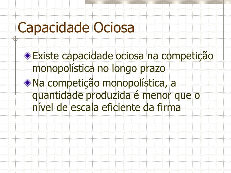 Capacidade Ociosa Existe capacidade ociosa na competição monopolística no longo prazo.