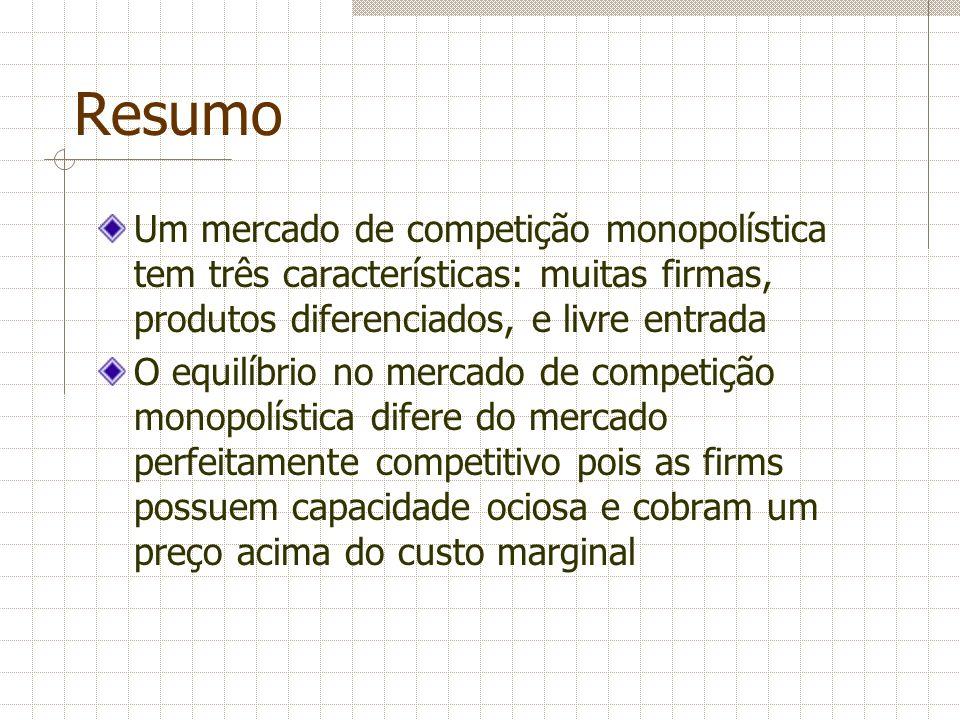 ResumoUm mercado de competição monopolística tem três características: muitas firmas, produtos diferenciados, e livre entrada.