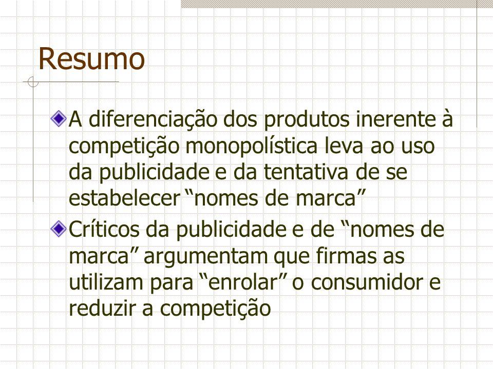 ResumoA diferenciação dos produtos inerente à competição monopolística leva ao uso da publicidade e da tentativa de se estabelecer nomes de marca