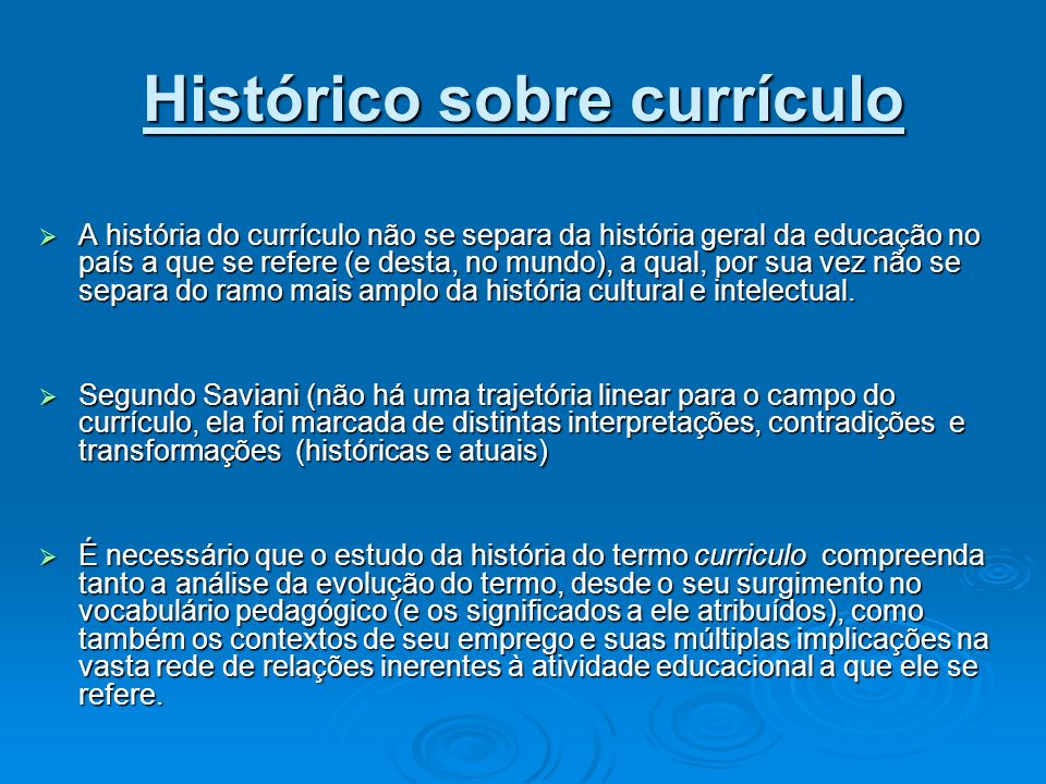 Histórico sobre currículo