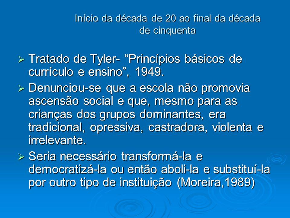 Início da década de 20 ao final da década de cinquenta