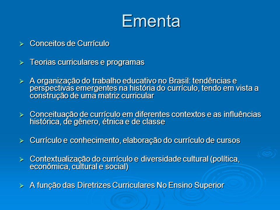Ementa Conceitos de Currículo Teorias curriculares e programas