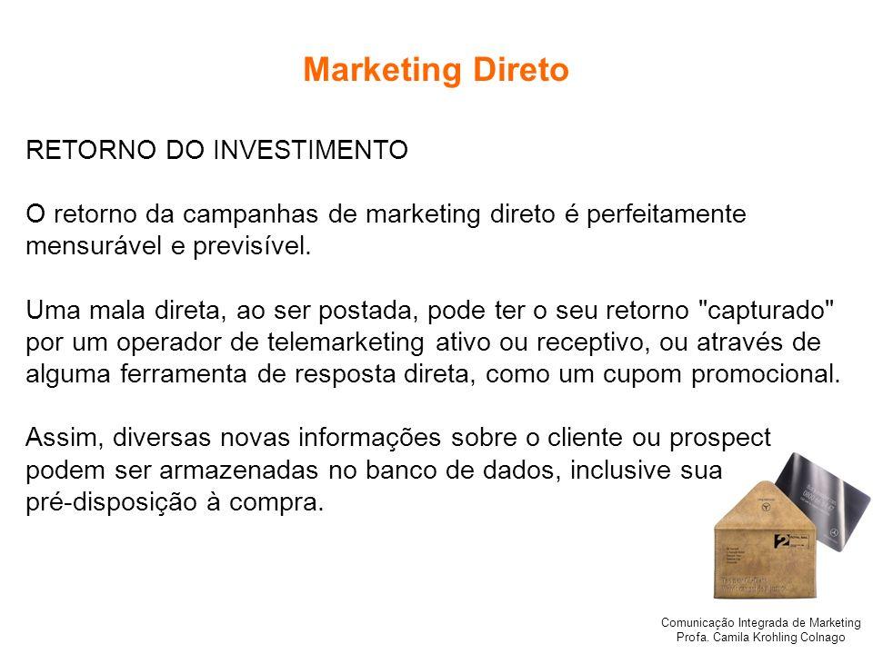 Marketing Direto RETORNO DO INVESTIMENTO