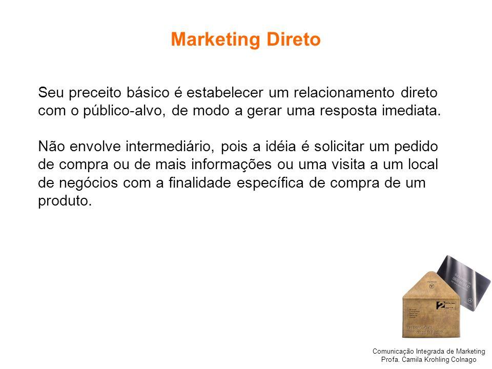 Marketing Direto Seu preceito básico é estabelecer um relacionamento direto. com o público-alvo, de modo a gerar uma resposta imediata.