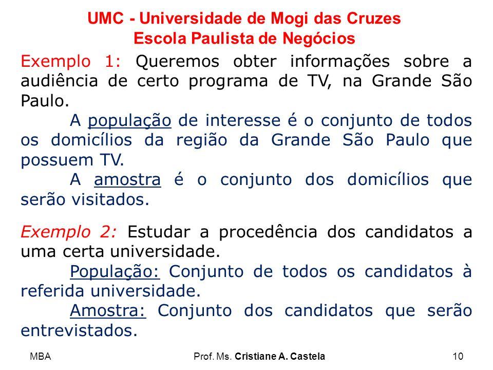 Exemplo 1: Queremos obter informações sobre a audiência de certo programa de TV, na Grande São Paulo.