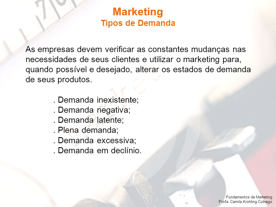 Marketing Tipos de Demanda