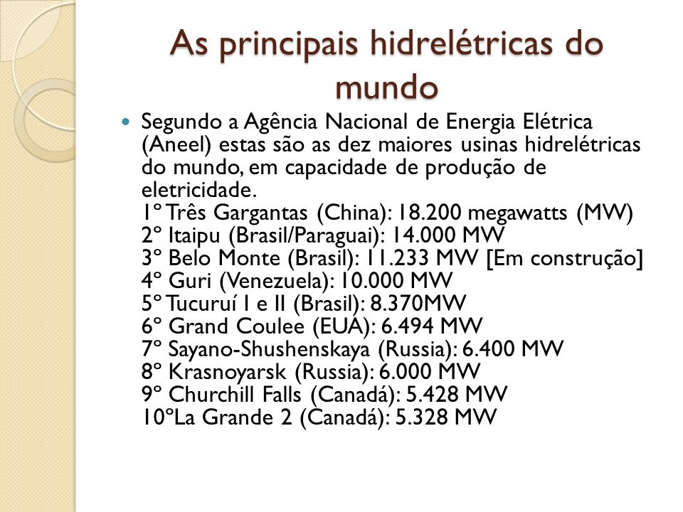 As principais hidrelétricas do mundo