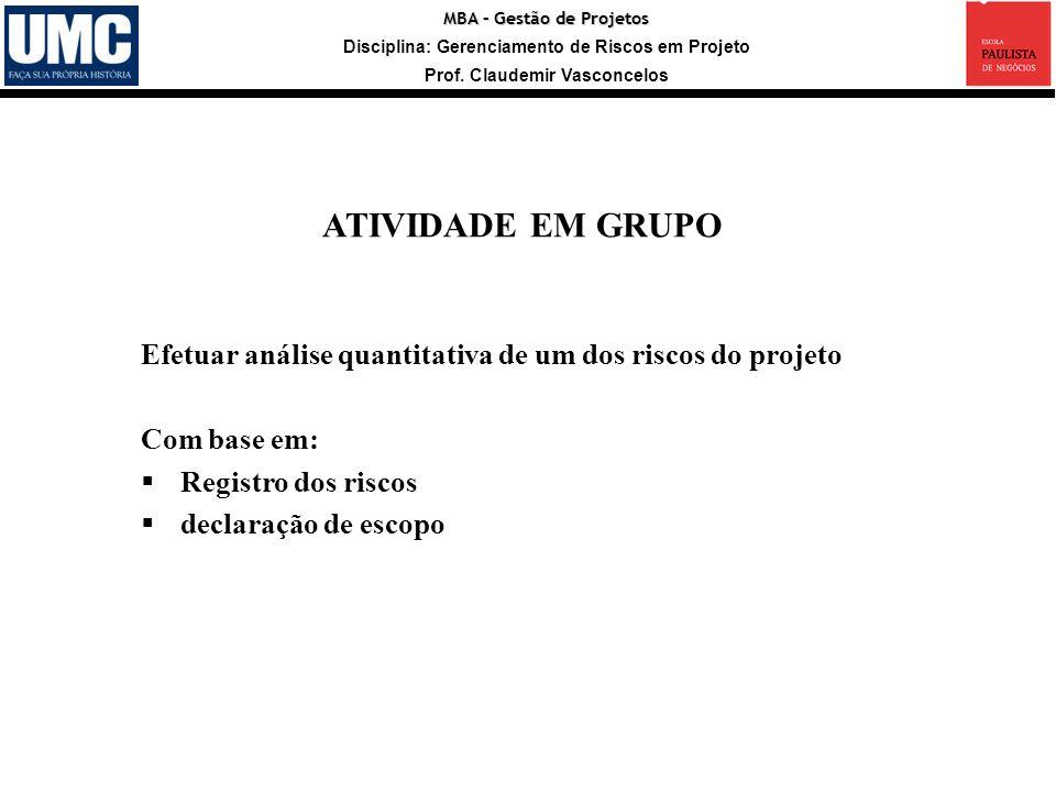 ATIVIDADE EM GRUPO Efetuar análise quantitativa de um dos riscos do projeto. Com base em: Registro dos riscos.