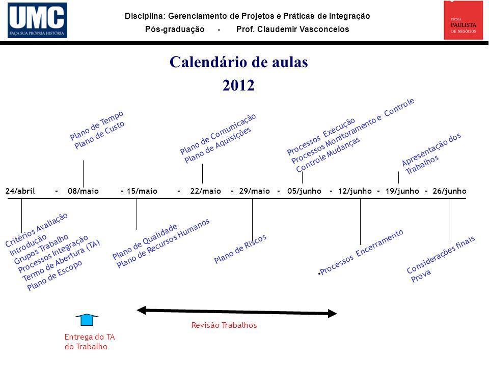 Calendário de aulas 2012 Processos Monitoramento e Controle