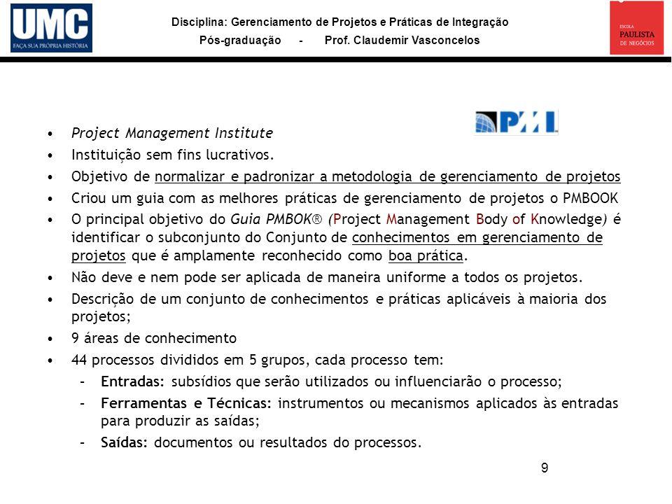 Project Management Institute Instituição sem fins lucrativos.