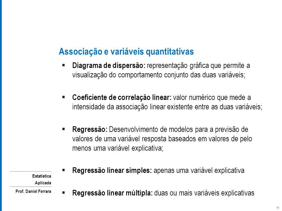 Associação e variáveis quantitativas