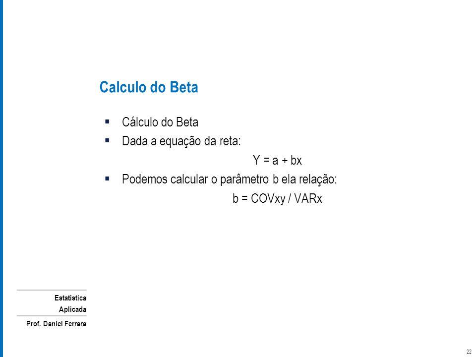 Calculo do Beta Cálculo do Beta Dada a equação da reta: Y = a + bx