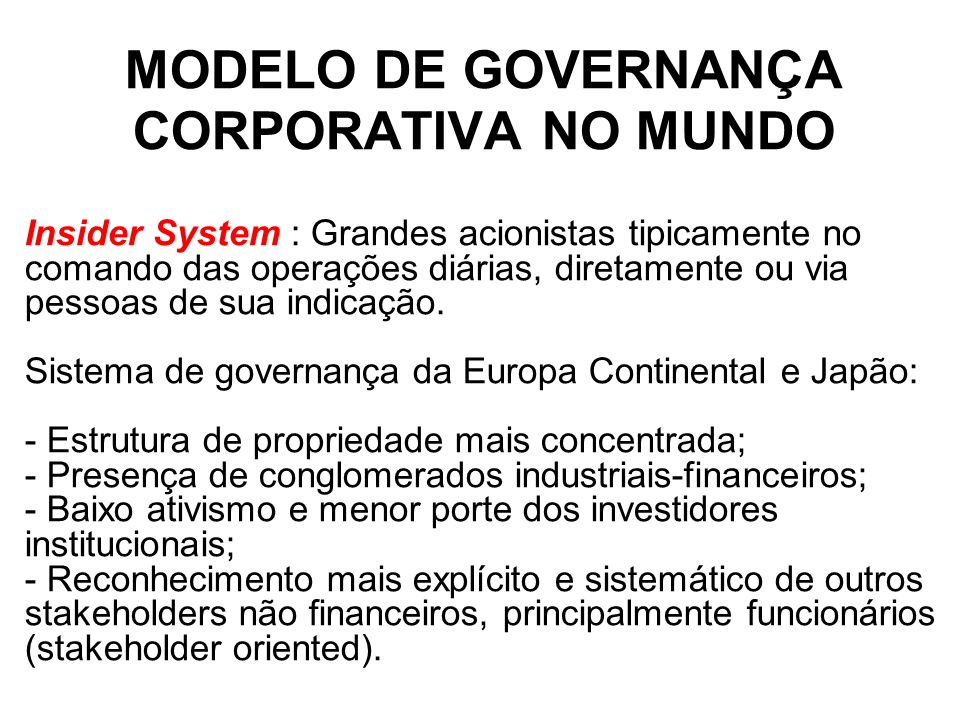 MODELO DE GOVERNANÇA CORPORATIVA NO MUNDO