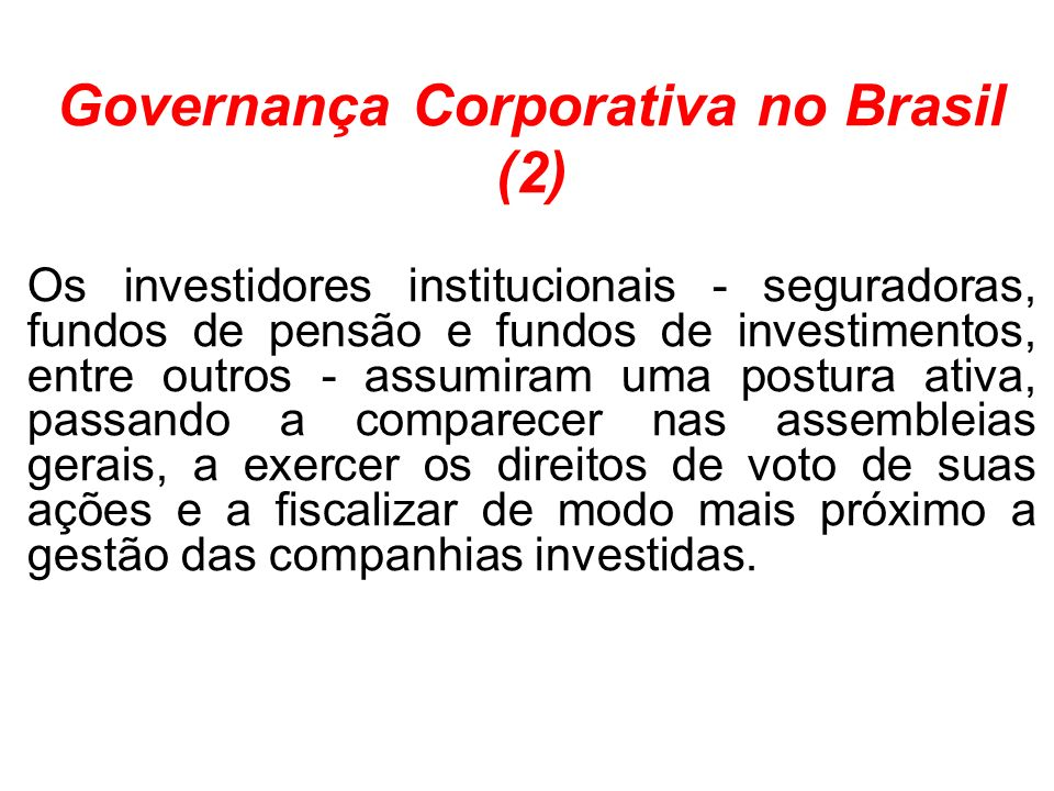 Governança Corporativa no Brasil (2)