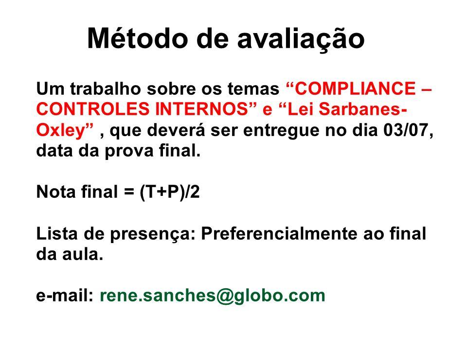 Método de avaliação Um trabalho sobre os temas COMPLIANCE – CONTROLES INTERNOS e Lei Sarbanes-Oxley , que deverá ser entregue no dia 03/07, data da prova final.