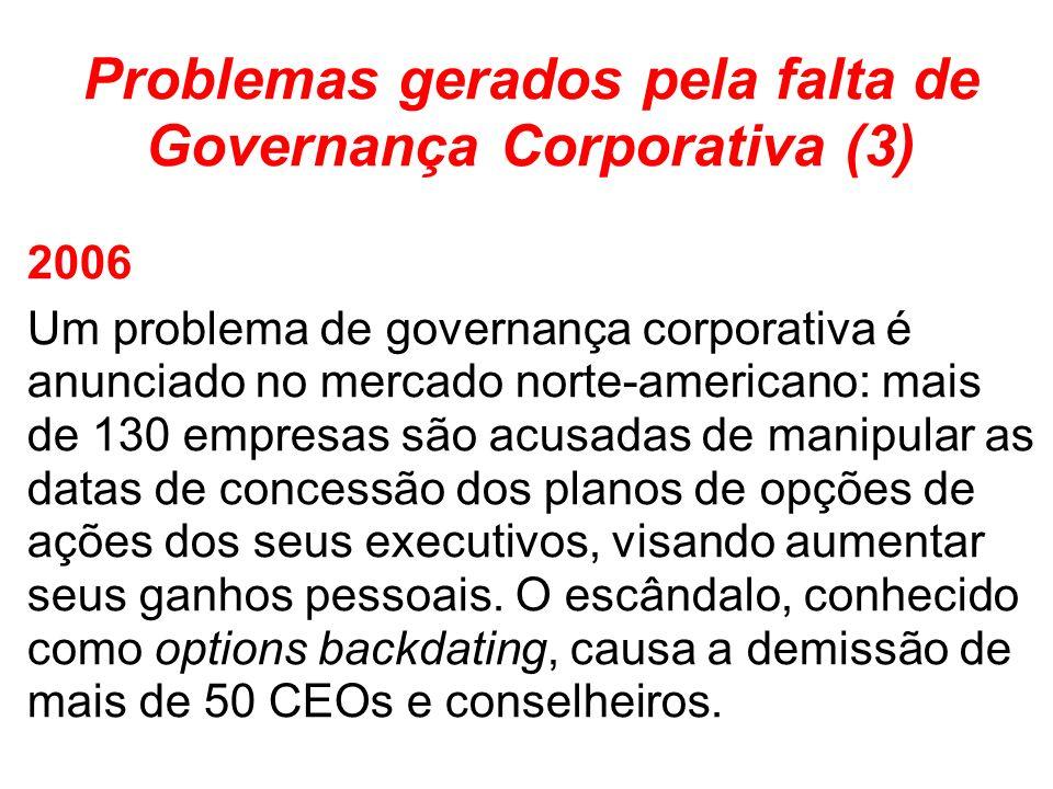 Problemas gerados pela falta de Governança Corporativa (3)