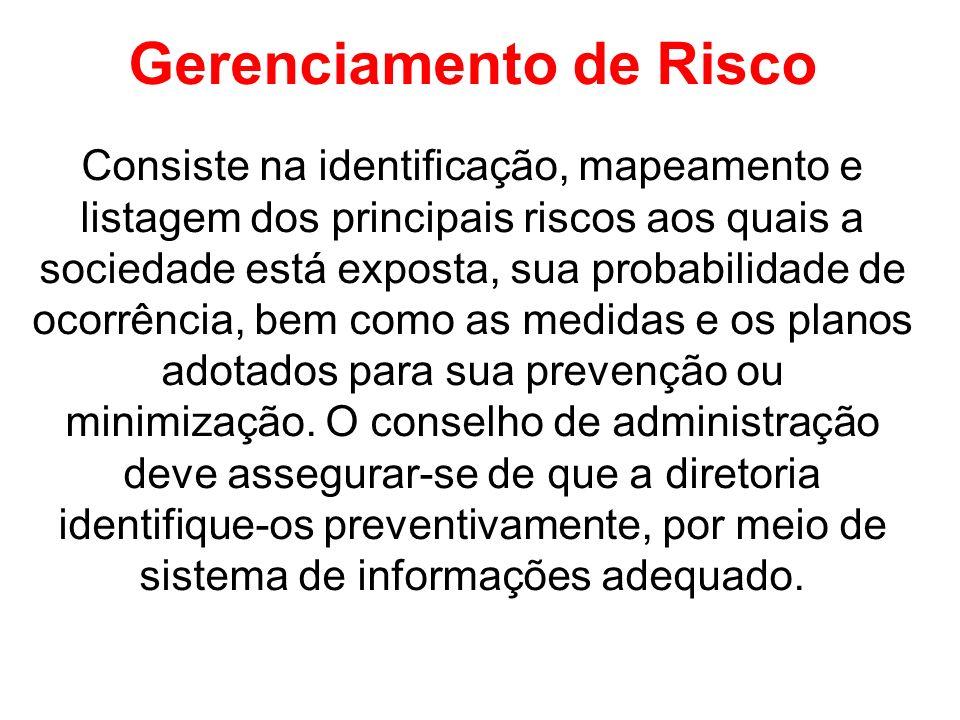 Gerenciamento de Risco Consiste na identificação, mapeamento e listagem dos principais riscos aos quais a sociedade está exposta, sua probabilidade de ocorrência, bem como as medidas e os planos adotados para sua prevenção ou minimização.