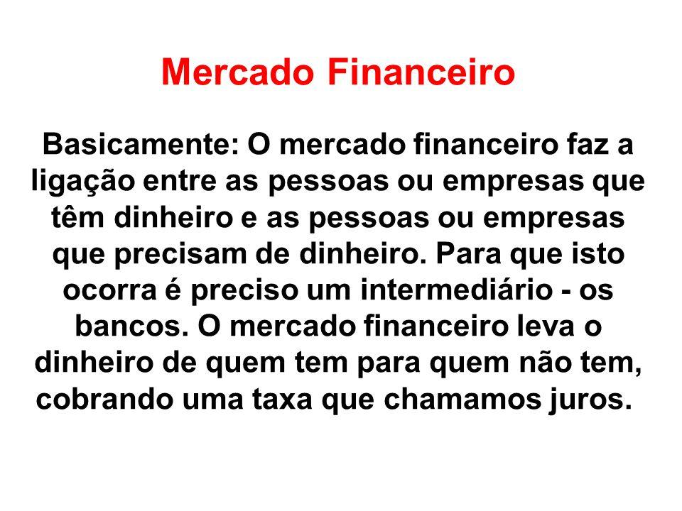 Mercado Financeiro Basicamente: O mercado financeiro faz a ligação entre as pessoas ou empresas que têm dinheiro e as pessoas ou empresas que precisam de dinheiro.