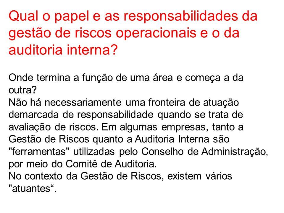 Qual o papel e as responsabilidades da gestão de riscos operacionais e o da auditoria interna